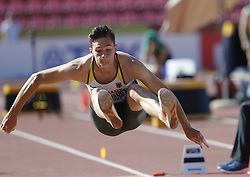 July 10, 2018 - Tampere, Suomi Finland - 180710 Friidrott, Junior-VM, Dag 1: Andreas Bechmann GER competes in men's Decathlon Long jump during the IAAF World U20 Championships day 1 at the Ratina stadion 10. July 2018 in Tampere, Finland. (Newspix24/Kalle Parkkinen) (Credit Image: © Kalle Parkkinen/Bildbyran via ZUMA Press)