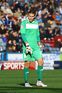 Leeds United Goalkeeper Marco Silvestri looks on. Skybet football league Championship match, Huddersfield Town v Leeds United at the John Smith's Stadium in Huddersfield, Yorks on Saturday 7th November 2015.<br /> pic by Chris Stading, Andrew Orchard sports photography.