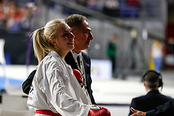 November 10, 2018 - Madrid, Madrid, Spain - Chatziliadou Eleni (GRE) win the gold medal and win the tournament of Female Kumite 68+ Kg during the Finals of Karate World Championship celebrates in Wizink Center, Madrid, Spain, on November 10th, 2018. (Credit Image: © AFP7 via ZUMA Wire)