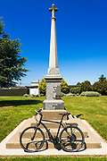 Bicycle and WWI monument in Pleasant Point, Canterbury, South Island, New Zealand