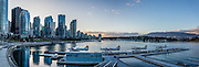 Coal Harbour waterfront buildings, Vancouver Harbour, Vancouver, British Columbia, Canada. This panorama was stitched from 4 overlapping images.