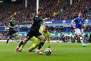 Eden Hazard of Chelsea goes past Everton Goalkeeper Maarten Stekelenburg but shoots into the side-netting. Premier league match, Everton v Chelsea at Goodison Park in Liverpool, Merseyside on Sunday 30th April 2017.<br /> pic by Chris Stading, Andrew Orchard sports photography.