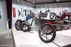 """Built with help from his high school students for the Whats the Skinny exhibition, Kevin Baas's Slim Pickens 1938 ULH 80"""" Harley-Davidson custom is a combination of various parts and pieces collected through the years. On view in the What's the Skinny Exhibition (2019 iteration of the Motorcycles as Art annual series) at the Sturgis Buffalo Chip during the Sturgis Black Hills Motorcycle Rally. SD, USA. Thursday, August 8, 2019. Photography ©2019 Michael Lichter."""