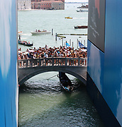 Bridge on the Via Schiavoni viewed from bridge of sighs, in Venice, Italy.