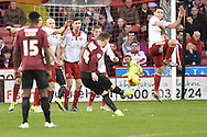 Bradford City midfielder Lee Evans  takes free kick during the Sky Bet League 1 match between Sheffield Utd and Bradford City at Bramall Lane, Sheffield, England on 28 December 2015. Photo by Ian Lyall.