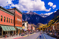 Main Street (West Colorado Avenue), Telluride, Colorado USA.