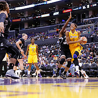 22 June 2014: forward/center Candace Parker (3) of the Los Angeles Sparks drives past guard Shenise Johnson (42) of the San Antonio Stars during the San Antonio Stars 72-69 victory over the Los Angeles Sparks, at the Staples Center, Los Angeles, California, USA.