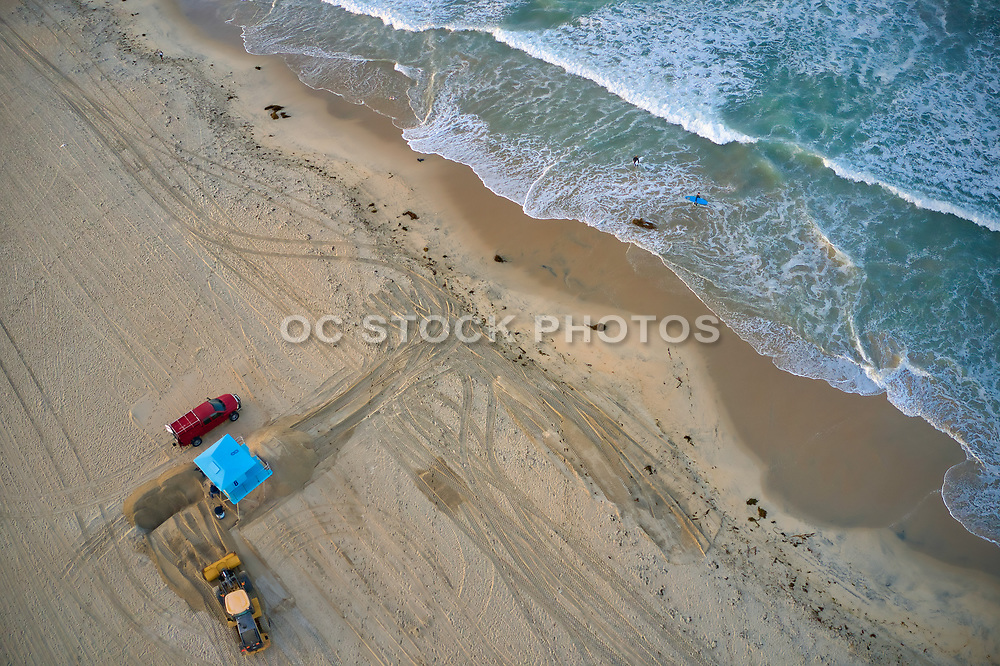 Lifeguard Tower on the Shoreline in Huntington Beach