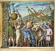 The triumph of Julius Caesar, Andrea Andreani (1540-1623) Italian wood engraver. Plate 4 from his 'Triumphus Caesari' c1598,  after Andrea Mantegna (1431-1506) Italian artist. Trumpeters following trophies in triumphal procession.