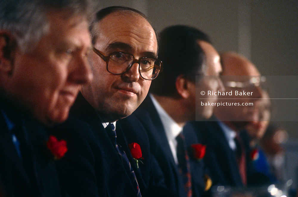 Labour MP John Smith sits with shadow cabinet colleagues at a Labour event in April 1992 in London, UK. John Smith QC PC (b1938) was a Scottish Labour Party politician who served as Leader of the Labour Party from July 1992 until his death from a heart attack in May 1994.