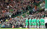 Ireland fans during the national anthems - UEFA Euro 2016 Qualifier - Scotland vs Republic of Ireland - Celtic Park Stadium - Glasgow - Scotland - 14th November 2014  - Picture Simon Bellis/Sportimage