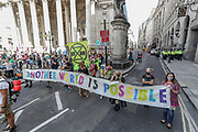 Members of Extinction Rebellion (XR) gathered outside Bank of England to then march towards Parliament Square, on their final 10th day of rebellion in London on Thursday, Sept. 10, 2020. Environmental nonviolent activists group Extinction Rebellion enters its 10th and final day of continuous ten days protests to disrupt political institutions throughout peaceful actions swarming central London into a standoff, demanding that central government obeys and delivers Climate Emergency bill. (VXP Photo/ Vudi Xhymshiti)