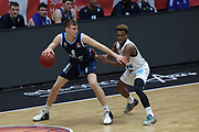 Basketball: Deutschland, 1. Bundesliga, Hamburg Towers -  Alba Berlin, Hamburg, 23.03.2021<br /> Malte Delow (Alba, l.) -  TJ Shorts (Towers)<br /> © Torsten Helmke