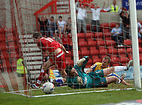 Photo: Rich Eaton.<br /> <br /> Swindon Town v Mansfield Town. Coca Cola League 2. 21/04/2007. Barry Corr left celebrates scoring the second goal of the game for Swindon past keeper Jason White