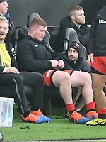 Rugby Union - 2019 / 2020 European Rugby Heineken Champions Cup - Pool Four: Ospreys vs. Saracens<br /> <br /> Rhys Carre of Saracens sits in the dug out  after receiving a red card , at the Liberty Stadium.<br /> <br /> COLORSPORT/WINSTON BYNORTH