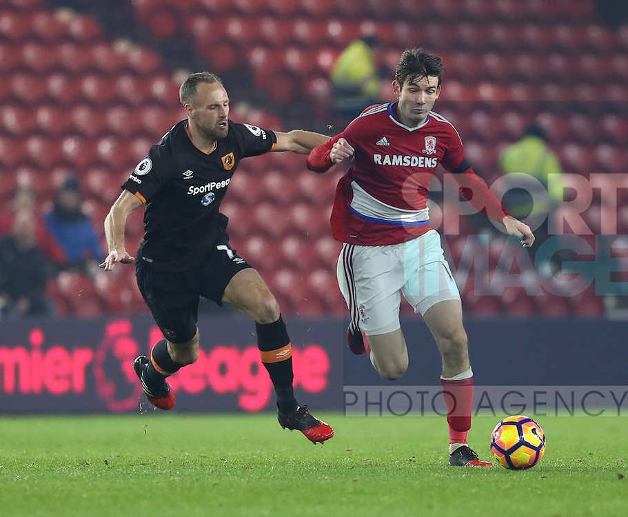 David Meyler of Hull City tussles with Marten de Roon of Middlesbrough during the English Premier League match at Riverside Stadium, Middlesbrough. Picture date: December 5th, 2016. Pic Jamie Tyerman/Sportimage