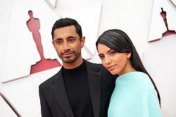 Oscar® nominee Riz Ahmed and Fatima Farheen Mirza<br /> arrive on the red carpet of The 93rd Oscars® at Union Station in Los Angeles, CA, USA on Sunday, April 25, 2021. Photo by A.M.P.A.S. via ABACAPRESS.COM
