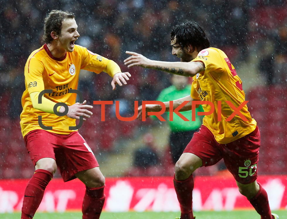 Galatasaray's Engin Baytar (R) celebrate his goal with team mate during their Turkey Cup matchday 3 soccer match Galatasaray between AdanaDemirspor at the Turk Telekom Arena at Aslantepe in Istanbul Turkey on Tuesday 10 January 2012. Photo by TURKPIX