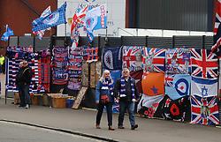 Rangers merchandise for sale outside Hampden Park before the William Hill Scottish Cup semi final match at Hampden Park, Glasgow.