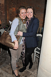 Left to right, ANOUSCHKA MENZIES and Editor of the Sunday Times Style magazine TIFFANY DARKE at an evening of cheesey culinary delights & champagne hosted by Alex James, Yasmin Mills and Elaine Foran held at Aubaine, 31 Dover Street, London on 20th March 2012.