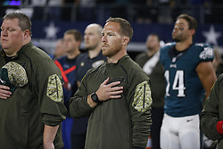 Philadelphia Eagles Sports Science Coordinator Shaun Huls looks on during the singing of the National Anthem before the NFL game between the Philadelphia Eagles and the Dallas Cowboys at AT&T Stadium in Arlington, Texas on Sunday November 9th 2015. The Eagles won 33-27 in overtime. (Brian Garfinkel/Philadelphia Eagles)