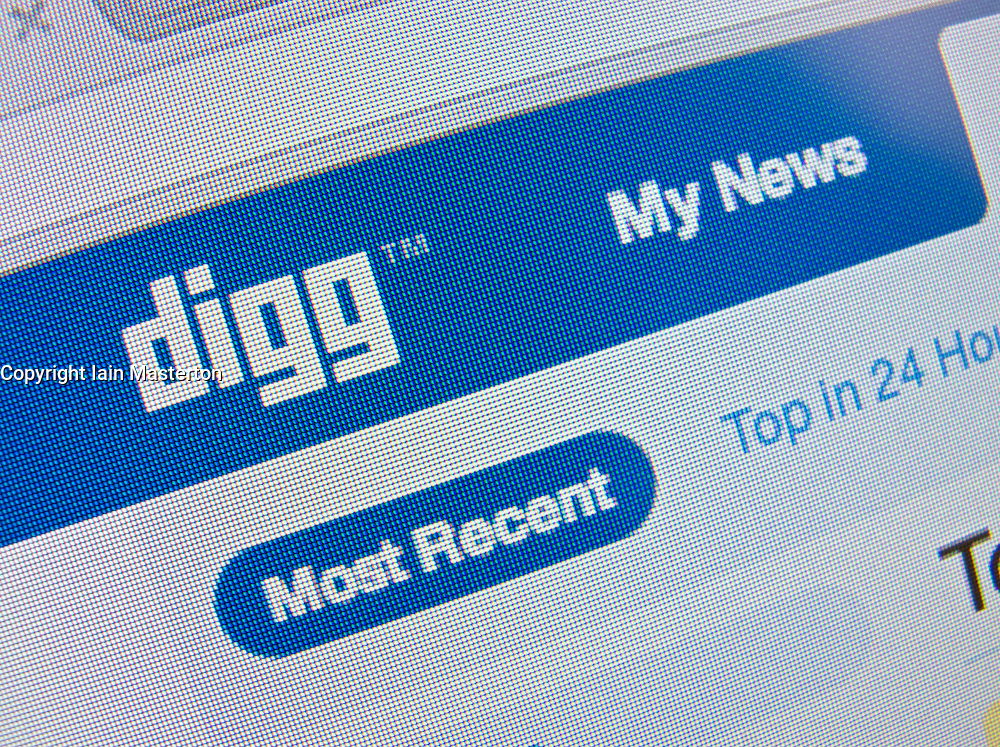 Detail of online social networking website Digg homepage screen shot