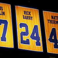 12 June 2017: Retired jerseys of Golden State Warriors players Chris Mullin, Rick Barry and Nate Thurmond are seen in the rafters during the Golden State Warriors 129-120 victory over the Cleveland Cavaliers, in game 5 of the 2017 NBA Finals, at the Oracle Arena, Oakland, California, USA.