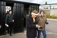 a Newport Fans arrive through the turnstiles ahead of the game. The Emirates FA Cup, 2nd round match, Newport County v Cambridge United at Rodney Parade in Newport, South Wales on Sunday 3rd December 2017.<br /> pic by Andrew Orchard,  Andrew Orchard sports photography.