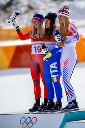 PYEONGCHANG-GUN, SOUTH KOREA - FEBRUARY 21:  Silver medal for Ragnhild Mowinckel of Norway, gold for Sofia Goggia of Italy and bronze for Lindsey Vonn of the United States during the Ladies' Downhill on day 12 of the PyeongChang 2018 Winter Olympic Games at Jeongseon Alpine Centre on February 21, 2018 in Pyeongchang-gun, South Korea. Photo by Ronald Hoogendoorn / Sportida