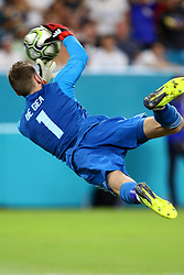 July 31, 2018 - Miami Gardens, FL, U.S. - MIAMI GARDENS, FL - JULY 31: Manchester United goalkeeper David De Gea (1) dives for a shot by Real Madrid during the second half of an International Champions Cup match at Hard Rock Stadium in Miami Gardens, Florida. Manchester United defeated Real Madrid 2-1. (Photo by Douglas Jones/Icon Sportswire) (Credit Image: © Douglas Jones/Icon SMI via ZUMA Press)