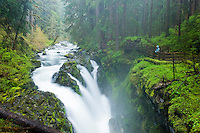 Hiker looks down at Sol Duc Falls, Olympic National Park, Washington.