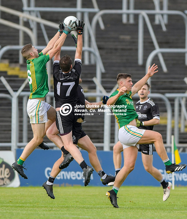 Castletown's Evan Hoey  and Conor O'Sullivan of Walterstown challenge for the ball in the air,  during the Castletown v Walterstown, 2020 Corn na Boinne Final match, at Pairc Tailteann, Navan.<br /> <br /> Photo: GERRY SHANAHAN-WWW.QUIRKE.IE<br /> <br /> 02-08-2021