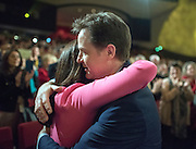 © Licensed to London News Pictures. 15/03/2015. Liverpool, UK.  Miriam Gonzalez Durantz, Nick Clegg after his leaders speech. The Liberal Democrat Spring Conference in Liverpool 15th March 2015. Photo credit : Stephen Simpson/LNP