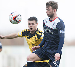 Livingston Calum Fordyce and Falkirk's Rory Loy.<br /> half time : Falkirk 0 v 1 Livingston, Scottish Championship game today at The Falkirk Stadium.<br /> © Michael Schofield.
