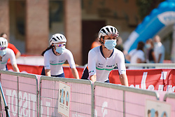 Équipe Paule Ka arrive for the team presentation at Strade Bianche - Elite Women 2020, a 136 km road race starting and finishing in Siena, Italy on August 1, 2020. Photo by Sean Robinson/velofocus.com