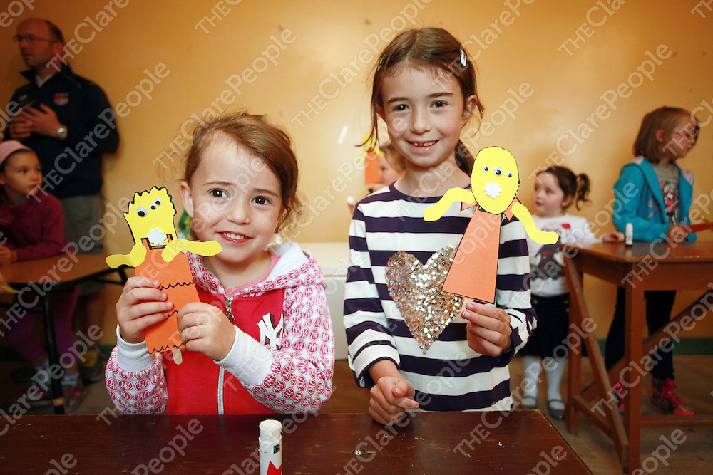 Claire and Rachel Shanahan at the arts and crafts class as part of the annual Clare Shout Festival in Kilkishen at the weekend.<br /> Photograph by Press 22