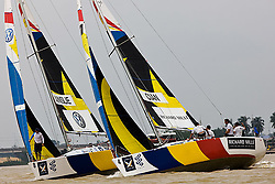 2008 Monsoon Cup. Ben Ainslie and Paolo Cian in the prestart. (Thursday  5th December 2008). .