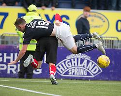 Falkirk's Bob McHughand Dunfermline's Ryan Williamson.  Falkirk 2 v 1 Dunfermline, Scottish Championship game played 15/10/2016, at The Falkirk Stadium.