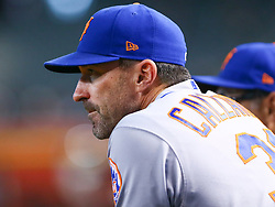June 14, 2018 - Phoenix, AZ, U.S. - PHOENIX, AZ - JUNE 14: New York Mets manager Mickey Callaway (36) watches from the dugout during the MLB baseball game between the Arizona Diamondbacks and the New York Mets on June 14, 2018 at Chase Field in Phoenix, AZ (Photo by Adam Bow/Icon Sportswire) (Credit Image: © Adam Bow/Icon SMI via ZUMA Press)