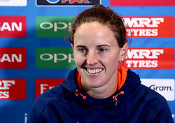 Amy Satterthwaite of New Zealand Women smiles as she takes part in a Press Conference ahead of her side's World Cup Group Match against England Women, in which she will win her 100th cap - Mandatory by-line: Robbie Stephenson/JMP - 11/07/2017 - CRICKET - Bristol County Ground - Bristol, United Kingdom - England v New Zealand - ICC Women's World Cup