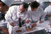 Alain Ducasse and Frank Cerruti in the kitchen of Ducasse' Louis XV,..Monte Carlo