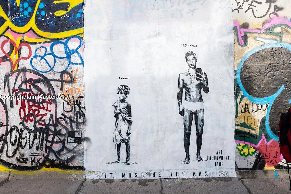 Mural on Berlin Wall featuring Justin Bieber at East Side Gallery in Berlin, Germany