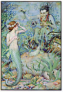The Little Mermaid visiting the undersea witch for spell to help win love of prince she rescued from shipwreck. Hans Christian Andersen fairy story illustrated by Monro S Orr (b1874).
