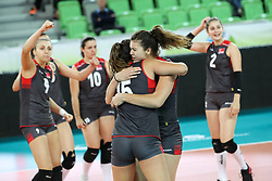 Players of Turkey celebrate during the volleyball match between National team of Turkey and Dominican Republic in Semifinal Round of Womens U23 World Championship 2017, on September 16, 2017 in SRC Stozice, Ljubljana, Slovenia. Photo by Morgan Kristan / Sportida
