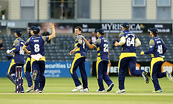 Dale Steyn of Glamorgan celebrates taking the wicket of Hamish Marshall of Gloucestershire with his teammates - Mandatory by-line: Robbie Stephenson/JMP - 10/06/2016 - CRICKET - Brightside Ground - Bristol, United Kingdom - Gloucestershire v Glamorgan - NatWest T20 Blast