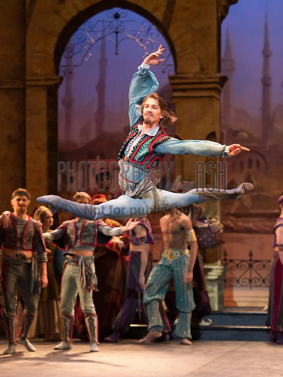 Vadim Muntagirov dancing in the English National Ballet dress rehearsal for the world premiere of Le Corsaire at Milton Keynes Theatre, Milton Keynes on October, 16 2013. Photo: Arnaud Stephenson