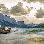 waves crashing on the shore of saint mary lake, glacier national park, montana