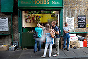 Roast pork baguette stall. Hobbs. Borough Market is a thriving Farmers market near London Bridge. Saturday is the busiest day.