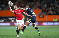 Rugby Union - 2017 British & Irish Lions Tour of New Zealand - Highlanders vs. British & Irish Lions<br /> <br /> Dan Biggar of The British and Irish Lions out jumps Waisake Naholo of Highlanders at Forsyth Barr Stadium, Dunedin.<br /> <br /> COLORSPORT/LYNNE CAMERON