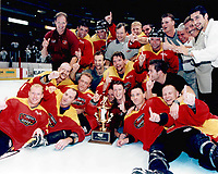 22 August 1999 RHI St. Louis Vipers beat the Anaheim Bullfrogs 8-6 at the Arrowhead Pond in Anaheim for the Championship.  ©ShellyCastellano  <br /> Roll 4 frame 25 color negative